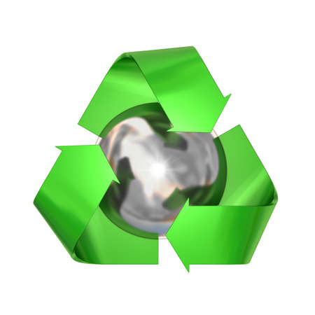metal recycling: Very high resolution 3d rendering of a metallic recycling symbol isolated over white