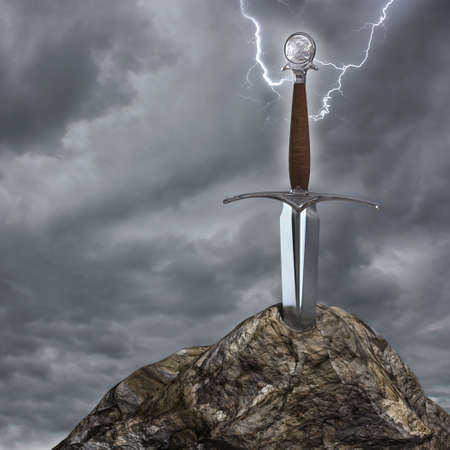 Very high resolution 3d rendering of a sword stuck in the stone