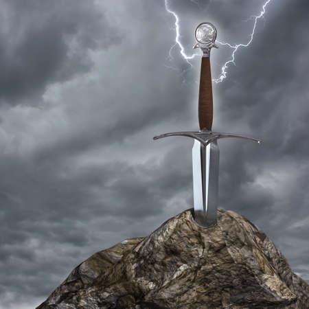 Zeer hoge resolutie 3D-rendering van een zwaard vast te zitten in de steen
