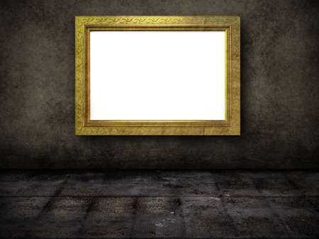dark room: High resolution rendering of a grunge room with a golden frame Stock Photo