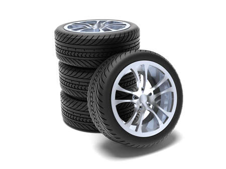 shiny car: Very high resolution 3D rendering  of a wheels stack isolated on white  Stock Photo