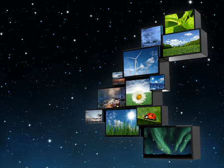 conserved: Very high resolution rendering of monitors with nature pictures