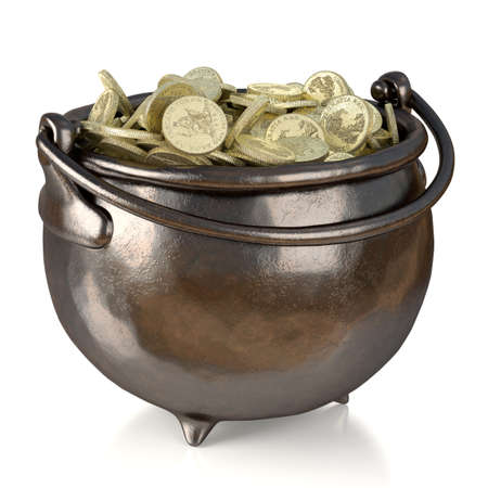 Very high resolution rendering of a pot of gold