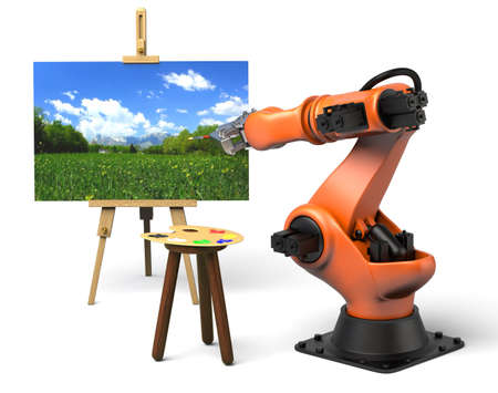 Very high resolution 3d rendering of an industrial robot painting
