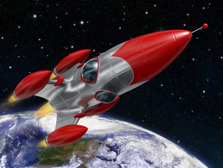 rocketship: Very high resolution 3d rendering of a cartoon-style space rocketship