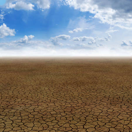 arid climate: Very high resolution 3D rendering of a desert with crackled sand  Stock Photo