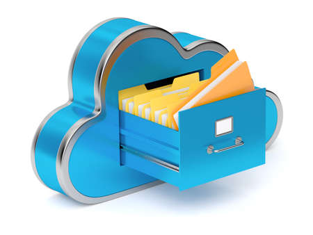 Very high resolution rendering of a cloud shaped file cabinet photo