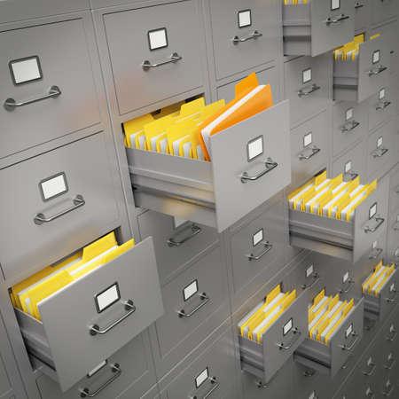 Zeer hoge resolutie weergave van een grote archiefkast