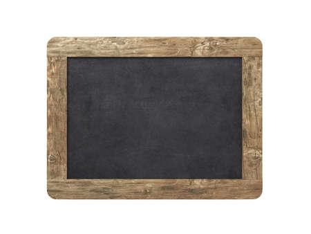 白い背景の空白の古い黒板 写真素材