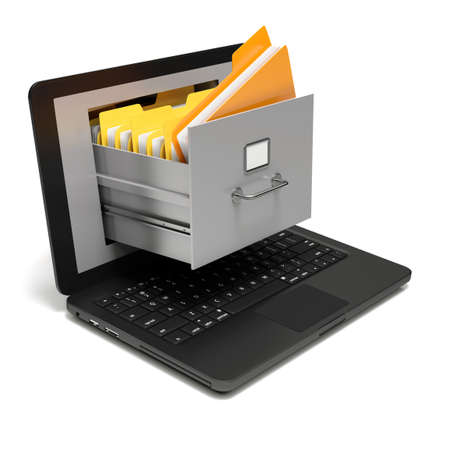 file box: Very high resolution rendering of file cabinet on a notebook screen