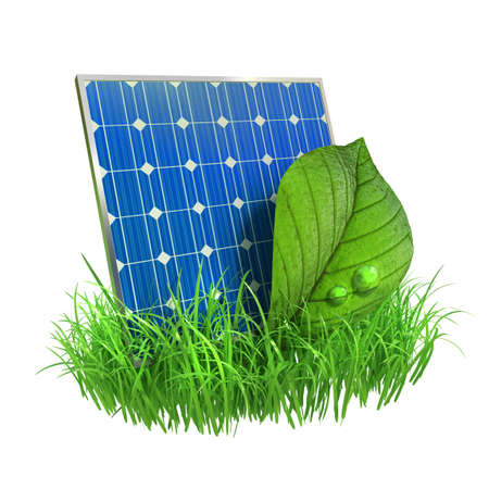 Very high resolution 3d rendering of a solar panel with a leaf and grass