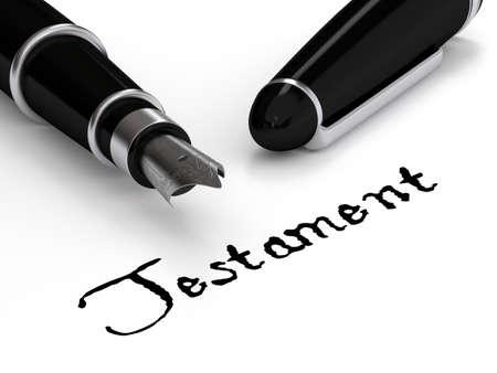 testament schreiben: Füllfederhalter schreiben das Wort Testament