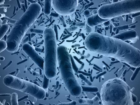 Veri hoge resolutie 3D-rendering van bacteriën gezien onder een scanning microscoop Stockfoto