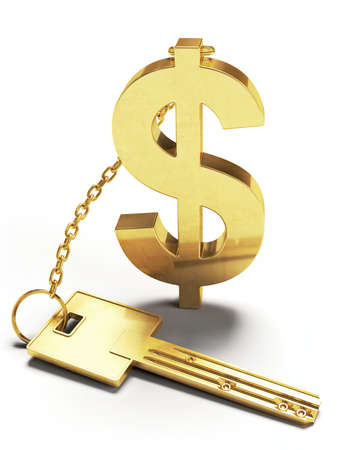 unblock: Very high resolution 3d rendering of a key with a gold dollar shaped keychain