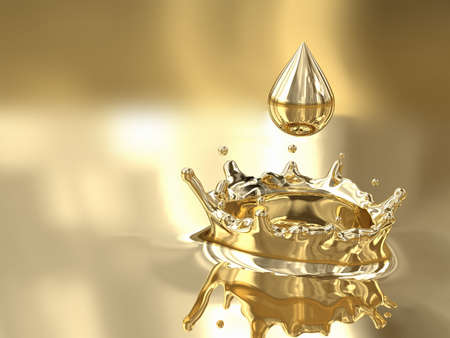 Very high resolution rendering of a melted gold drop