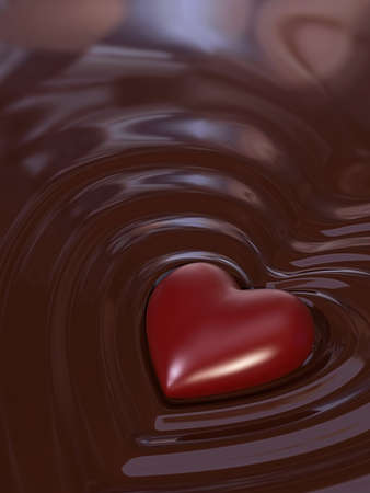 sweet and savoury: Very high resolution rendering of a chocolate heart Stock Photo