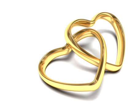 heart very: Very high resolution rendering of two heart shaped wedding rings