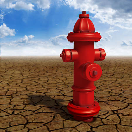 fire hydrant: Hydrant in the desert conceptual image Stock Photo