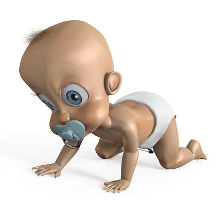 tuft: Computer generated cartoon baby character