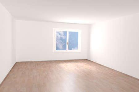 Very high resolution rendering of an empty room photo