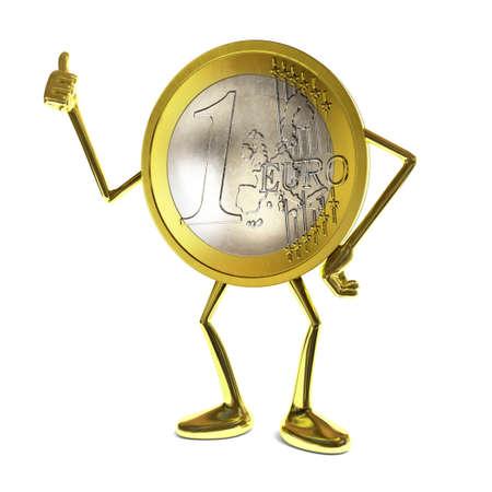 euro coin: Cartoon style Euro coin character