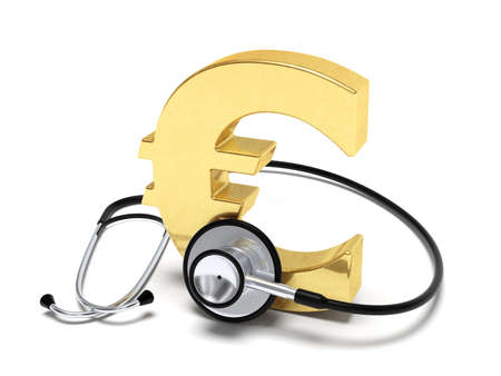 decaying: Euro and stethoscope conceptual image