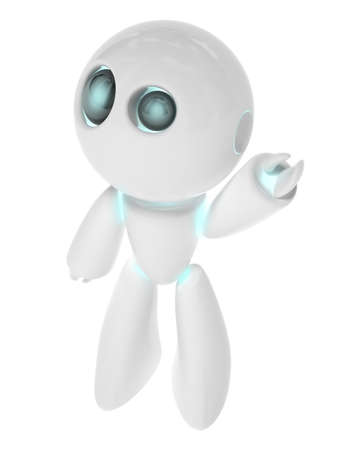 Very high resolution rendering of a little white robot