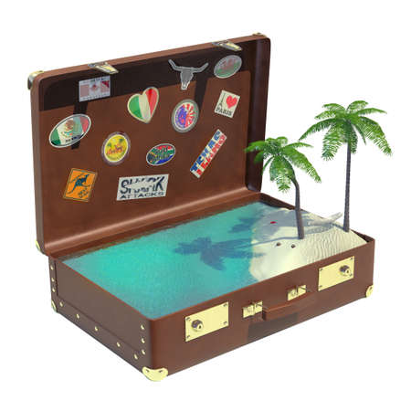 Very high resolution 3D rendering  of an old suitcase with a tropical landscape inside photo