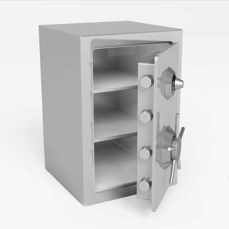 Very high resolution 3d rendering of an open safe photo