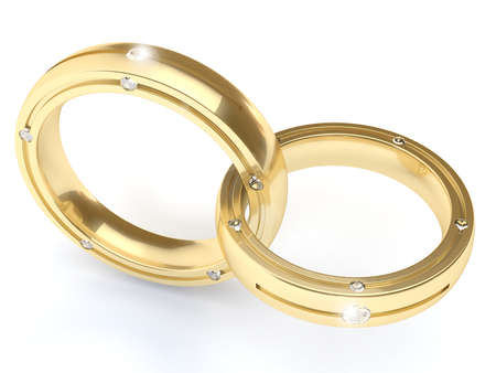 Very High Resolution Rendering Of Two Wedding Rings Photo