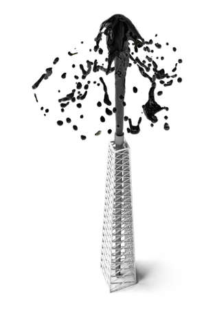 Computer genertated conceptual image of an oil gusher