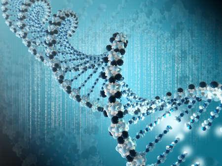adn humano: Muy alta resolución 3d de una espiral de ADN Foto de archivo