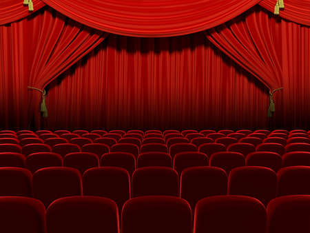 red stage curtain: Very high resolution 3d rendering of an empty theater auditorium
