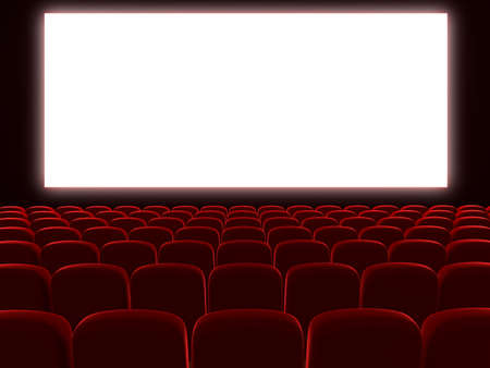 Very high resolution 3d rendering of an empty cinema auditorium photo