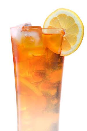 ice tea: Big glass of iced tea with lemon Stock Photo