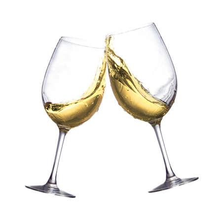 Roosteren van twee witte wijn heldere glazen