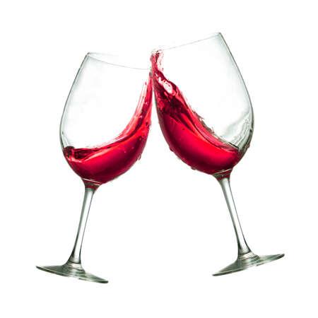 2 赤ワイングラス クリアの乾杯 写真素材