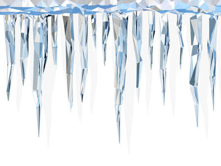 thaw: Low poly icicles Stock Photo