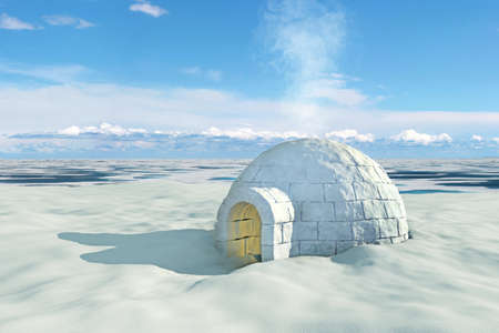 Nordic landscape with igloo photo