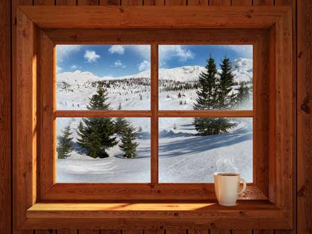 cottage: Paisaje de invierno Foto de archivo