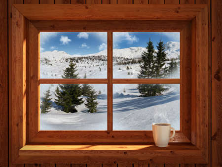 log cabin in snow: Winter landscape Stock Photo