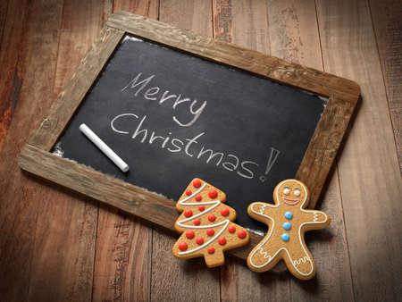 Gingerbread man with a blackboard photo