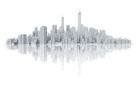 singapore cityscape: COmputer generated image of the skyline of a big city