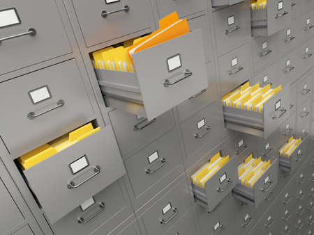 bureaucracy: Very high resolution rendering of a large file cabinet Stock Photo