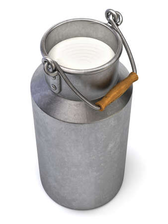 milk pail: Very high resolution 3d rendering of a bucket.