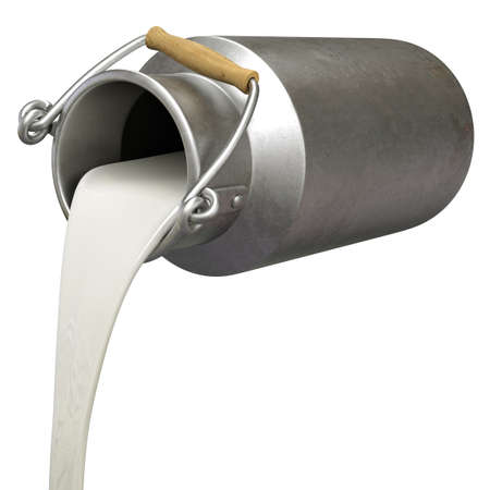 Very high resolution 3d rendering of a bucket pouring milk.