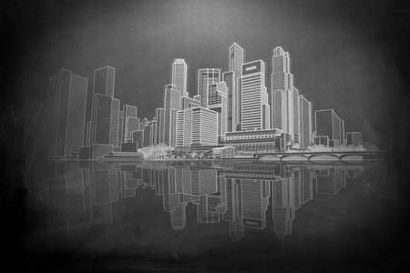 Hand sketch of the skyline of a big city pn a blackboard