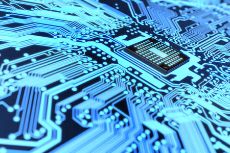 integrated: Very high resolution rendering of an electronic circuit Stock Photo