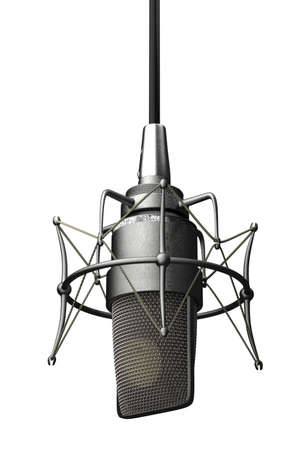 white back: Very high resolution rendering of a classic microphone.