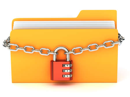 locked icon: Very high resolution 3d rendering of a yellow folder.